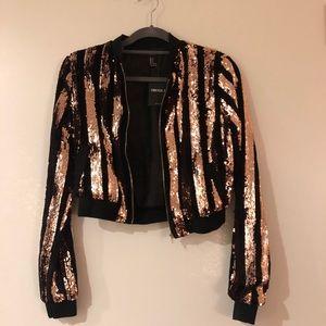Forever 21 sequin & velvet bomber jacket